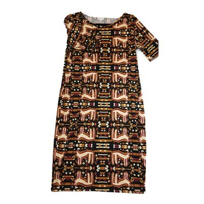JULIA Large L Black Brown and Maroon Southwestern Animal Print Form Fitting Dress fits sizes 12-14