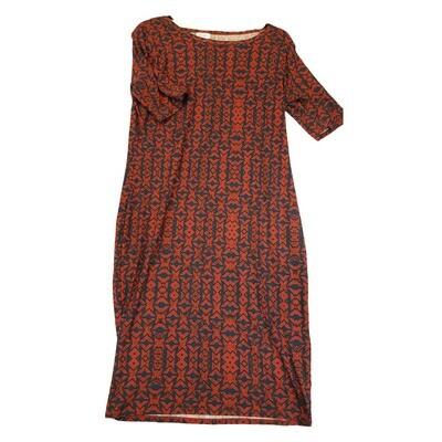 JULIA Large L Dark Red and Dark Blue Geometric Stripe Form Fitting Dress fits sizes 12-14