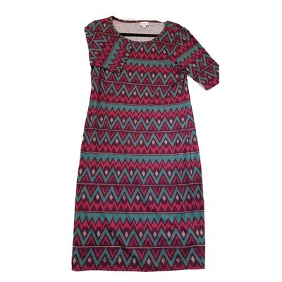 JULIA Large L Fuchsia Maroon Pink and Teal Zig Zag Stripe Form Fitting Dress fits sizes 12-14