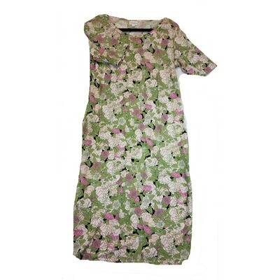 JULIA Large L Green Pink Cream Black Roses Flowers Form Fitting Dress fits sizes 12-14
