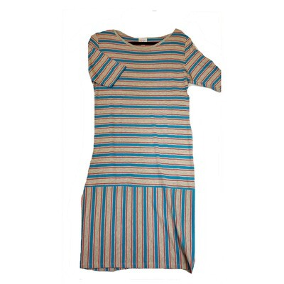 JULIA Large L Grey, Dark Pink and Blue Stripe Form Fitting Dress fits sizes 12-14