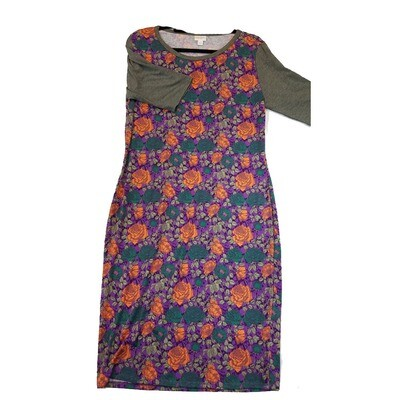 JULIA X-Large XL Orange, Dark Teal and Purple with Grey Sleeves Floral Roses Form Fitting Dress fits sizes 16-18