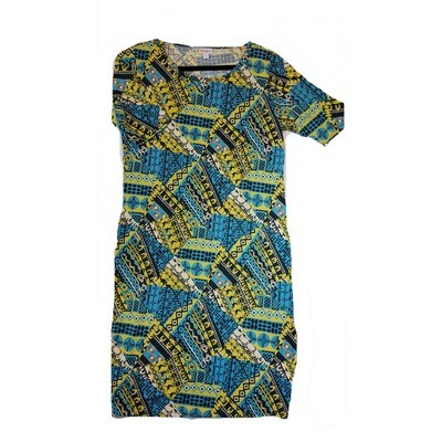 JULIA X-Large XL Cream, Yellow Blue and Black Patchwork Geometric Form Fitting Dress fits sizes 16-18