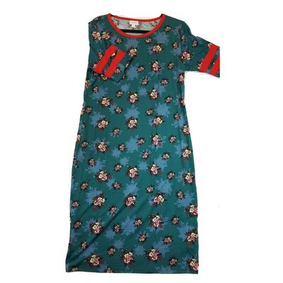JULIA X-Large XL Grey Pink and Black with Orange Stripes on Sleeves Floral Form Fitting Dress fits sizes 16-18