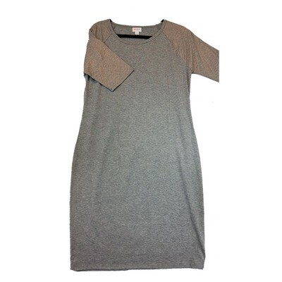 JULIA X-Large XL Solid Grey with Light Pink Sleeves Form Fitting Dress fits sizes 16-18