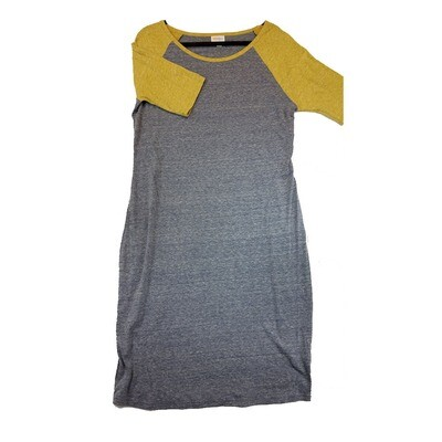 JULIA X-Large XL Solid Grey with Dark Yellow Sleeves Form Fitting Dress fits sizes 16-18