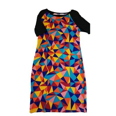 JULIA X-Large XL Blue Yellow Red Pink and Green with Black Sleeves Hypnotic Trippy Geometric Form Fitting Dress fits sizes 16-18