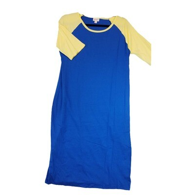 JULIA X-Large XL Solid Blue With Yellow Sleeves Form Fitting Dress fits sizes 16-18