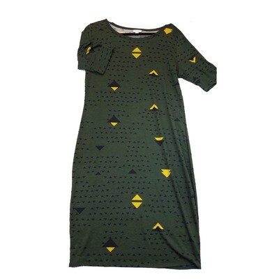JULIA X-Large XL Solid Dark Green with Black and Yellow Triangle Polka Dots Form Fitting Dress fits sizes 16-18