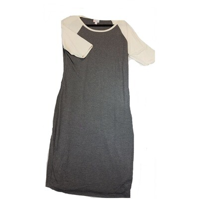 JULIA X-Large XL Solid Dark Grey with Off White Sleeves Form Fitting Dress fits sizes 16-18