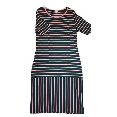 JULIA X-Large XL Dark Grey and Pink Stripe Form Fitting Dress fits sizes 16-18