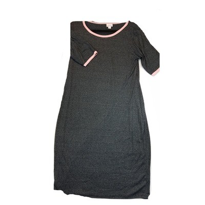 JULIA X-Large XL Solid Dark Grey with Pink Trim Form Fitting Dress fits sizes 16-18