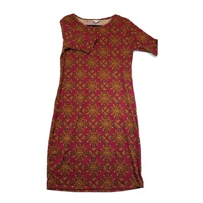 JULIA X-Large XL Maroon and Orange Trippy Geometric Form Fitting Dress fits sizes 16-18