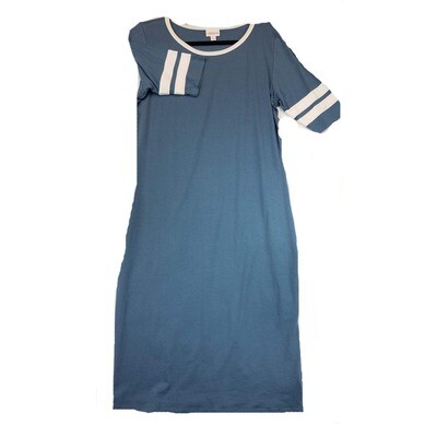 JULIA X-Large XL Solid Blue with White Stripes on Sleeves Form Fitting Dress fits sizes 16-18
