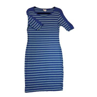 JULIA Medium M Blue and Light Grey Stripe Form Fitting Dress fits sizes 8-10