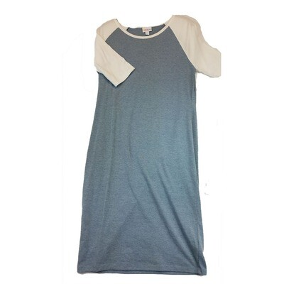 JULIA Medium M Solid Blue Grey with Antique White Sleeves Form Fitting Dress fits sizes 8-10