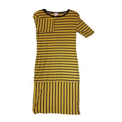 JULIA Medium M Yellow and Black Stripe Form Fitting Dress fits sizes 8-10