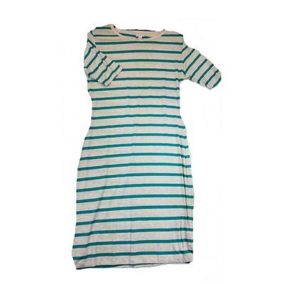 JULIA Medium M Light Grey and Green Stripe Form Fitting Dress fits sizes 8-10