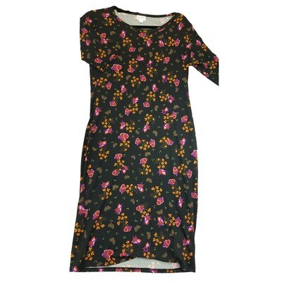 JULIA Medium M Black Pink and Orange Floral Form Fitting Dress fits sizes 8-10