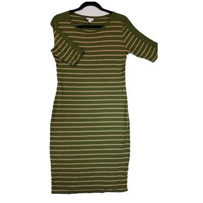 JULIA Medium M Olive Green and Peach Stripe Form Fitting Dress fits sizes 8-10