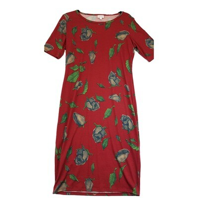 JULIA Medium M Red Blue and Green Roses Floral Leaves Form Fitting Dress fits sizes 8-10