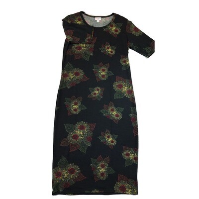 JULIA Medium M Black Yellow and Red Daisies Form Fitting Dress fits sizes 8-10