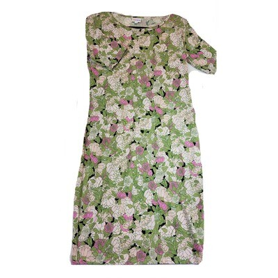 JULIA Medium M Green Pink Cream Black Roses Flowers Form Fitting Dress fits sizes 8-10