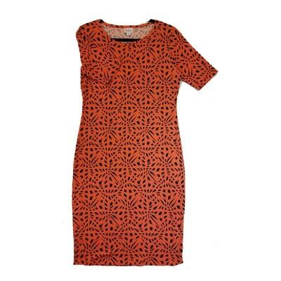 JULIA Medium M Red and Black Trippy Geometric Form Fitting Dress fits sizes 8-10