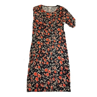 JULIA Medium M Black and Coral Floral Form Fitting Dress fits sizes 8-10