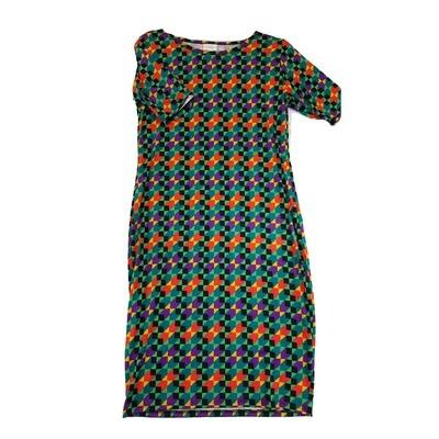 JULIA Medium M Black Orange and Purple Trippy Stripe Geometric Form Fitting Dress fits sizes 8-10