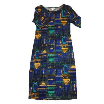 JULIA Medium M Blue Black and Teal Southwest Geometric Patchwork Form Fitting Dress fits sizes 8-10