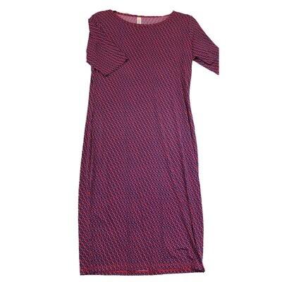 JULIA Medium M Pink and Blue Micro Polka Dot Geometric Stripe Form Fitting Dress fits sizes 8-10