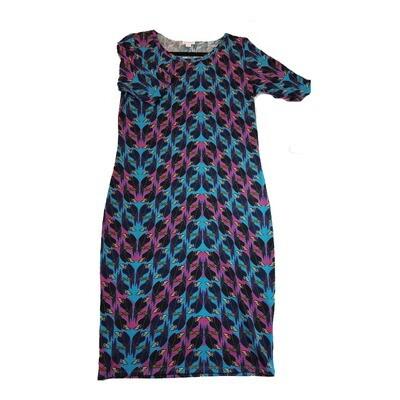JULIA Medium M Disney Ravens from Snow White Purple Black and Blue Stripe Form Fitting Dress fits sizes 8-10