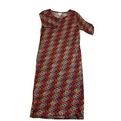 JULIA Medium M Red Orange and White Curly Geometric Stripe Form Fitting Dress fits sizes 8-10