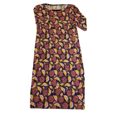 JULIA Medium M Purple Pink and Yellow Floral Form Fitting Dress fits sizes 8-10