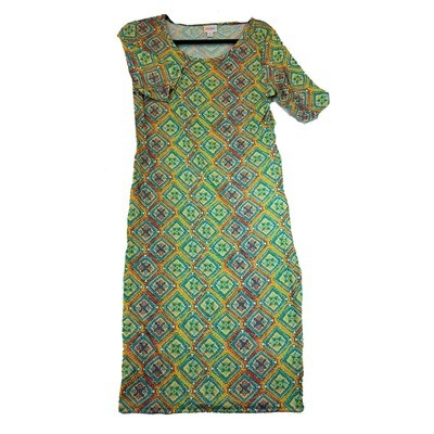 JULIA Medium M Light Green, Blue and Yellow Quilt Geometric Stripe Pattern Form Fitting Dress fits sizes 8-10