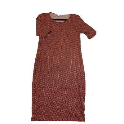 JULIA Medium M Red and Green Zig Zag Geometric Stripe Form Fitting Dress fits sizes 8-10