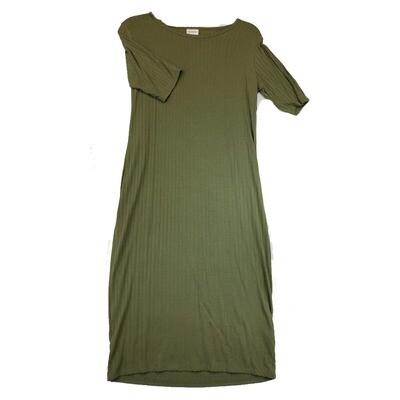 JULIA Medium M Solid Olive Ribbed Form Fitting Dress fits sizes 8-10