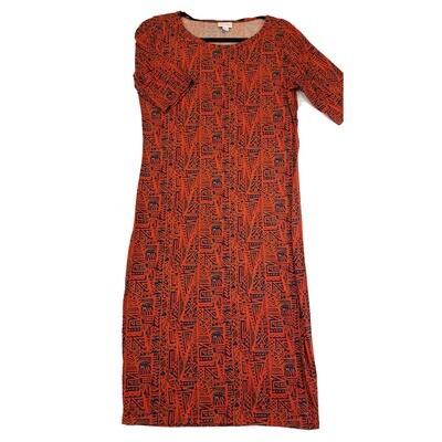 JULIA Medium M Blue and Dark Orange Southwest Geometric Form Fitting Dress fits sizes 8-10