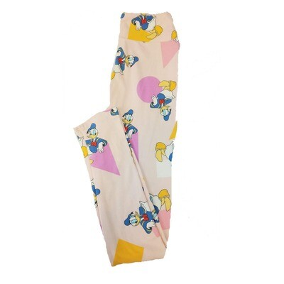 LuLaRoe Tween Disney Donald Duck Triangle Circle Square Beige Blue White Geometric Leggings Fits Adult Sizes 00-0