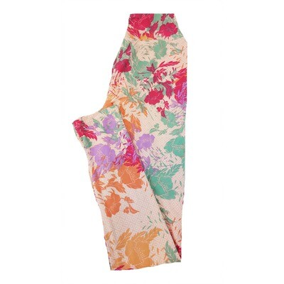 LuLaRoe Tween Floral Geometric Square Leggings Fits Adult Sizes 00-0