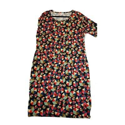 JULIA XXX-Large 3XL Black and Rainbow Hexagon Geometric Polka Dots Form Fitting Dress fits sizes 24-26