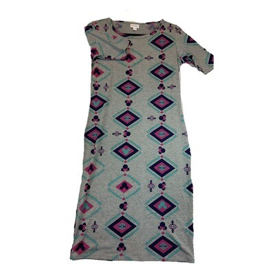 JULIA Small S Disney Mickey and Minnie Mouse Grey and Pink Diamond Geometric Form Fitting Dress fits sizes 4-6