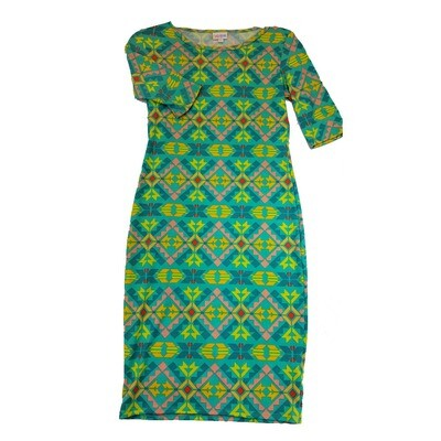 JULIA X-Small XS Mint Green, Pink and Yellow Southwest Geometric Stripe Form Fitting Dress fits sizes 2-4