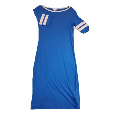JULIA Small S Solid Blue with Light Pink Stripes on Sleeves Form Fitting Dress fits sizes 4-6