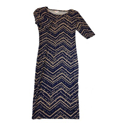 JULIA X-Small XS Navy Blue and Gren Zig Zag Stripe Form Fitting Dress fits sizes 2-4