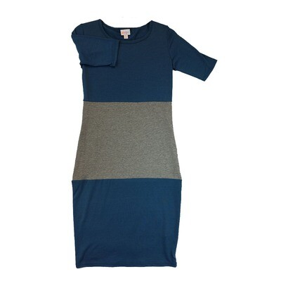 JULIA X-Small XS Solid Blue and Grey Form Fitting Dress fits sizes 2-4