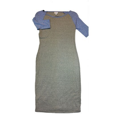 JULIA X-Small XS Solid Light Grey with Blue Sleeves Form Fitting Dress fits sizes 2-4