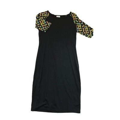 JULIA Small S Solid Black with Pink and Blue Geometric Sleeves Form Fitting Dress fits sizes 4-6
