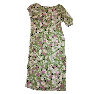 JULIA Small S Green Pink Cream Black Roses Flowers Form Fitting Dress fits sizes 4-6